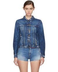 Saint Laurent - Blue Embroidered Denim Jacket - Lyst
