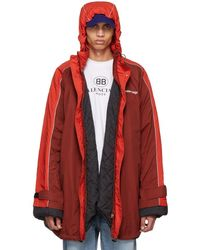 Balenciaga - Parka rembourree a logo rouge - Lyst