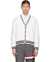 Thom Browne - White Cricket Stripe Cardigan - Lyst