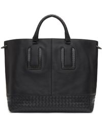Bottega Veneta - Black Intrecciato Shopping Tote - Lyst
