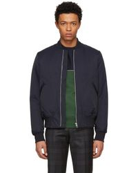 PS by Paul Smith - Navy Cotton And Nylon Bomber Jacket - Lyst