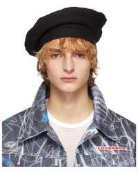 a94c57f42767f CHARLES JEFFREY LOVERBOY - Black Wool Beret - Lyst