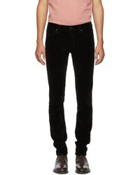 HUGO - Black Velvet Trousers - Lyst