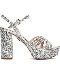 Miu Miu - Silver Glitter Sandals - Lyst