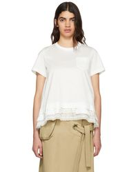 Sacai - White Trim T-shirt - Lyst
