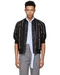 3.1 Phillip Lim - Black Painted Stripe Bomber Jacket - Lyst