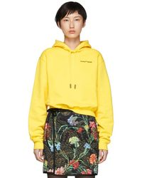 Off-White c/o Virgil Abloh - Yellow Quotes Cropped Hoodie - Lyst
