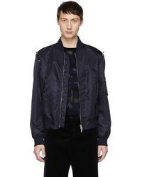 Valentino - Navy Punk Studs Bomber Jacket - Lyst