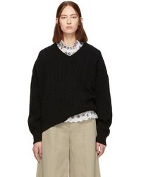 Loewe - Black Cable Knit V-neck Sweater - Lyst