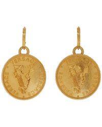 Versace - Gold V Coin Earrings - Lyst