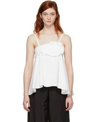 Carven - White Cotton Ruffled Tank Top - Lyst