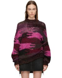 Saint Laurent - Intarsia Knitted Sweater - Lyst