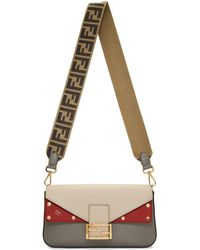 Fendi - Off-white And Grey Forever Baguette Bag - Lyst