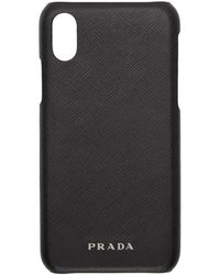 Prada - Etui pour iPhone X en cuir saffiano noir - Lyst