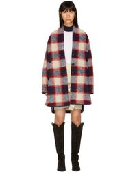 Étoile Isabel Marant - Red And Navy Gabrie Check Coat - Lyst