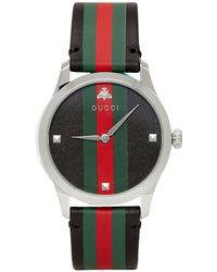 cff55b797f9 Gucci - Black And Silver Striped Leather G-timeless Watch - Lyst