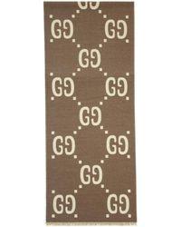 Gucci - Foulard en laine taupe et blanc casse GG - Lyst