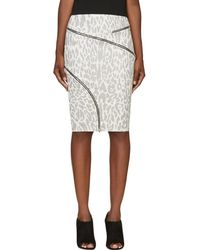 Jay Ahr - White And Black Ziparound Leopard Pencil Skirt - Lyst