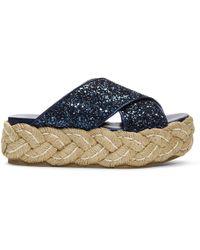 Miu Miu - Blue Glitter Raffia Platform Sandals - Lyst