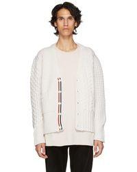 Thom Browne - Off-white Funmix Classic V-neck Cardigan - Lyst