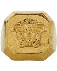 Versace - Gold Octagonal Medusa Statement Ring - Lyst
