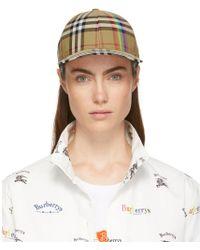Burberry - Yellow Rainbow Check Cap - Lyst