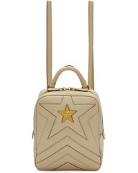 Stella McCartney - Beige Small Quilted Star Backpack - Lyst