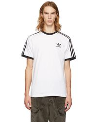 adidas Originals - White 3-stripes T-shirt - Lyst