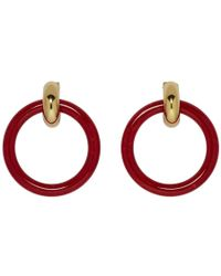 Balenciaga - Red Extra Small Hoop Earrings - Lyst