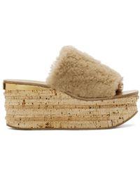 Chloé - Beige Shearling Camille Flatform Sandals - Lyst