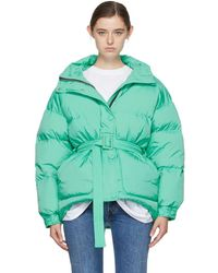 Ienki Ienki - Green Down Michelin Belted Hooded Jacket - Lyst