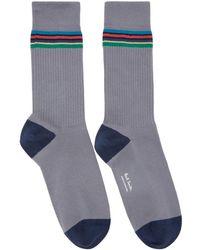 Paul Smith - Grey Duo Rib Socks - Lyst