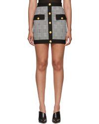Balmain - Black And White Houndstooth Miniskirt - Lyst