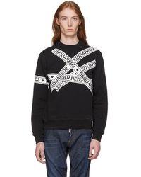 DSquared² - Black Logo Stripes Sweatshirt - Lyst