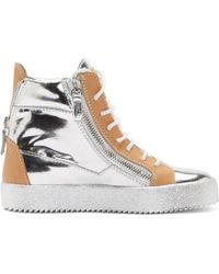 Giuseppe Zanotti - Silver And Beige Leather May London Wedge Trainers - Lyst