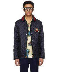 07ba530f5 Gucci Detachable Hood Bee-print Nylon Jacket in Blue for Men - Lyst