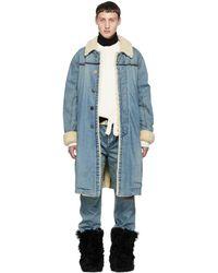 Sacai - Blue Denim Coat - Lyst