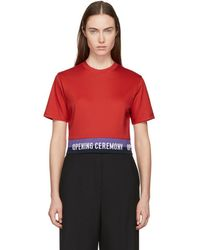 Opening Ceremony - Red Cropped Elastic Logo T-shirt - Lyst
