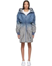 adidas By Stella McCartney - Blue And Grey Train Parka Coat - Lyst