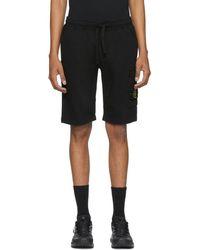 Stone Island - Black Pocket Sweat Shorts - Lyst