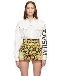 Versace - White Denim V Embroidered Shirt - Lyst