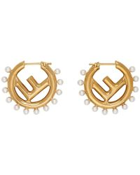 Fendi - Gold F Is Pearl Earrings - Lyst