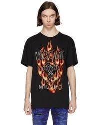 Moschino - Black Studded Flame Logo T-shirt - Lyst
