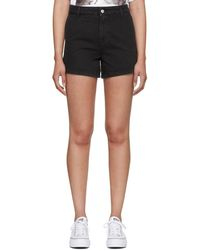 MSGM - Black Washed Denim Micro Logo Shorts - Lyst