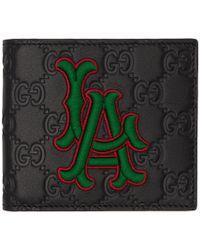 4c83b24984e Gucci - Black La Embroidered GG Supreme Leather Wallet - Lyst
