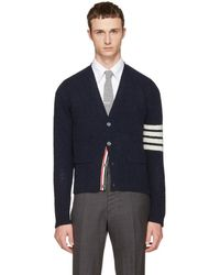 Thom Browne - Navy Classic Mohair V-neck Cardigan - Lyst