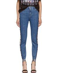 MSGM - Blue Logo Tape Stirrup Jeans - Lyst