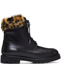 Mr & Mrs Italy - Black Leather & Mink Combat Boots - Lyst
