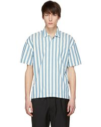 Burberry - White And Blue Short Sleeve Vertical Stripe Shirt - Lyst