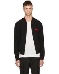 Dolce & Gabbana - Black Logo Plaque Bomber Jacket - Lyst